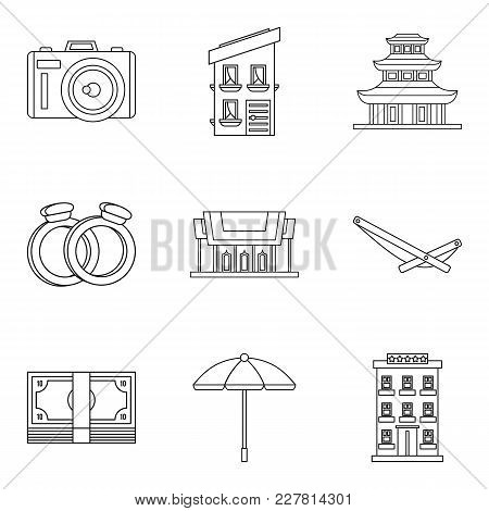 Fondness Icons Set. Outline Set Of 9 Fondness Vector Icons For Web Isolated On White Background