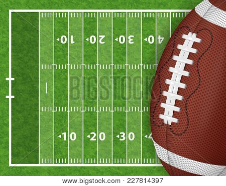 American Football Field With Realistic Ball, Line And Grass Texture. Vector Illustration