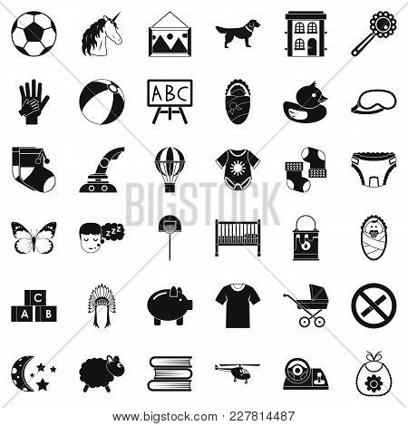 Preschool Establishment Icons Set. Simple Set Of 36 Preschool Establishment Vector Icons For Web Iso