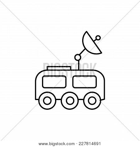 Moon Rover Icon In Line Style. Space Illustration With Moon Rover In White Background. Element For S