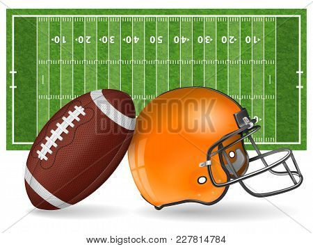 American Football Field With Realistic Ball, Helmet, Line And Grass Texture. Vector Illustration