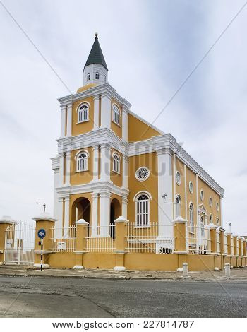 Dutch Colonial Architecture In Willemstad, Curacao. Temple Emanuel Now Used As City Administrative B