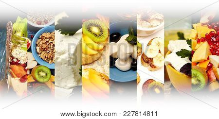 Photo Of Fruits, Cheese, Yogurt, Nuts Abstract Mix Stripes. Healthy Breakfast Collage, Concept. Whit