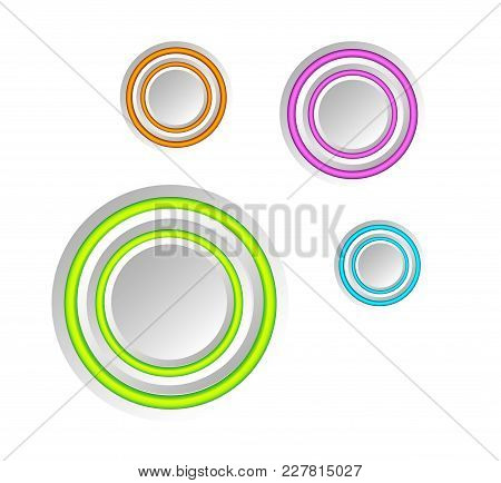 Abstract Web Elements Collection With Gray Round Buttons And Colorful Rings On White Background Isol