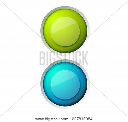 Abstract Web Design Concept With Colorful Glossy Round Buttons On White Background Isolated Vector I