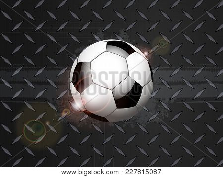 3d Illustration Of Soccer Football On Black Metallic Diamond Plate With Grunge Details And Lens Flar