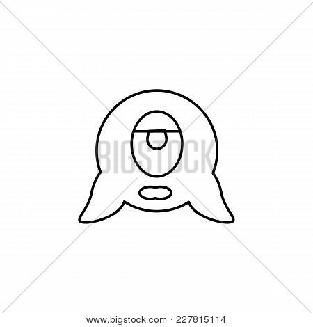 Alien Icon In Line Style. Space Illustration With Alien In White Background. Element For Space Desig