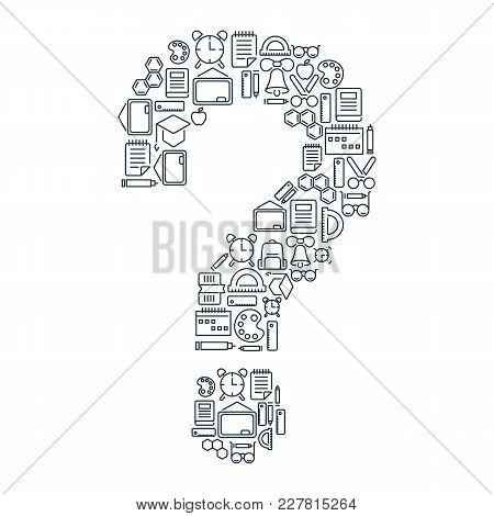 Education School Concept With Linear Icons And Elements In Shape Of Question Mark Isolated Vector Il