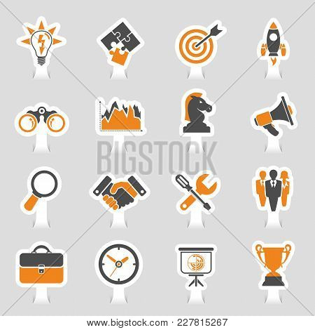 Business Icon Sticker Set - Finance, Strategy, Idea, Research, Teamwork, Success Vector In Two Color