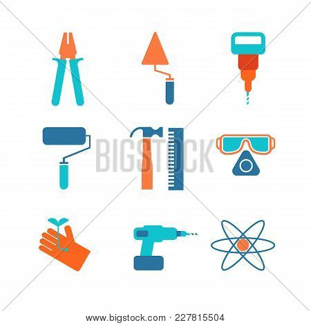 Set Of Nine Decorative Specific Icons With Gloves, Hammer, Spectacles, Roller And Different Working