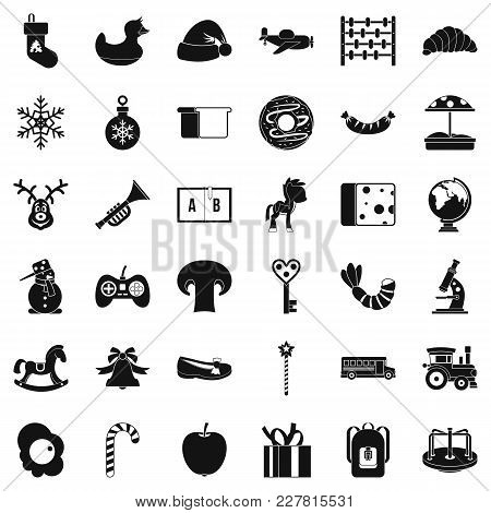 Kindergarten Icons Set. Simple Set Of 36 Kindergarten Vector Icons For Web Isolated On White Backgro