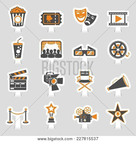 Cinema And Movie Two Color Sticker Icons Set With Popcorn, Award, Clapperboard, Tickets And 3d Glass