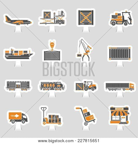 Cargo Transport, Packaging, Shipping And Logistics Two Color Sticker Icon Set Such As Truck, Air Car