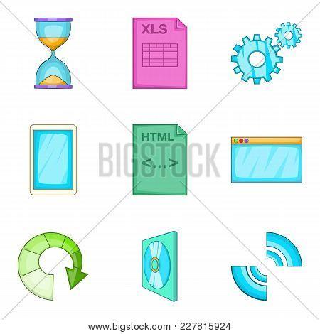 Interaction Program Icons Set. Cartoon Set Of 9 Interaction Program Vector Icons For Web Isolated On