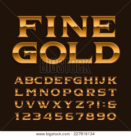 Gold Alphabet Font. Luxury Glossy Letters, Numbers And Symbols. Stock Vector Typeface For Any Typogr