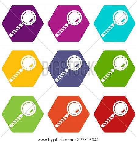 Magnifying Glass Icon Set Many Color Hexahedron Isolated On White Vector Illustration