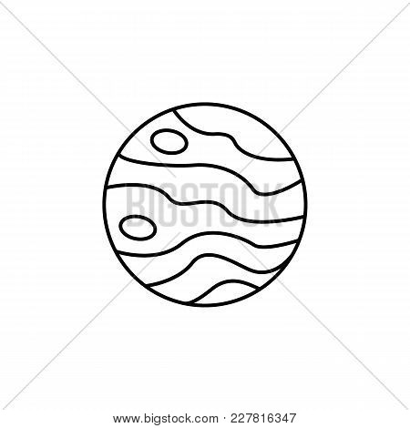 Planet Icon In Line Style. Space Illustration With Jupiter Planet In White Background. Element For S