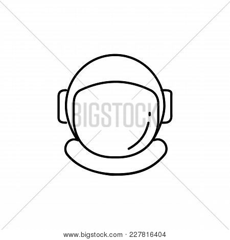 Astronaut Helmet Icon In Line Style. Space Illustration With Astronaut Helmet In White Background. E