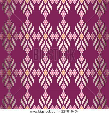 Seamless Background Southeast Asian Retro Aboriginal Traditional Art Textile Pattern Cross Line Geom