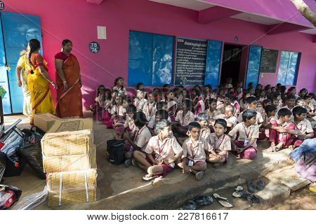 Pondichery, Puduchery, India - September 04, 2017. Outdoor Meeting Of The Children Of The School, Wi