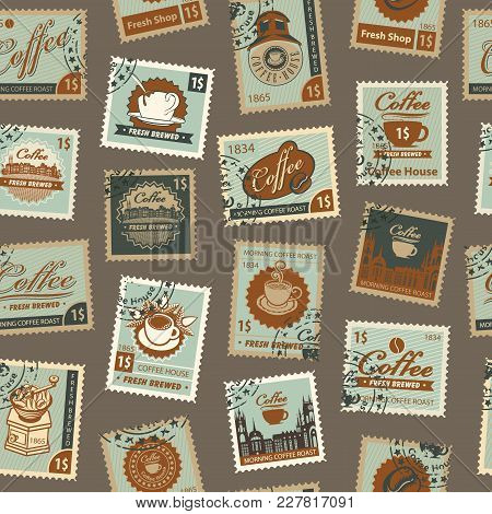 Retro Postage Seamless Background. Vector Seamless Pattern On Coffee And Coffee House Theme With Pos