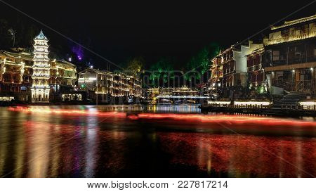 Fenghuang, Hunan, China - January 25, 2018: The Old Town Of Phoenix (fenghuang Ancient Town) At Nigh