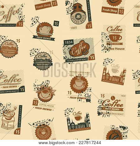 Vector Seamless Pattern On Coffee And Coffee House Theme With Postage Stamps And Postmarks In Retro