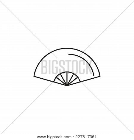 Folding Fan Outline Icon. Singapore Symbol Isolated On White Background. Singapore Folding Fan Objec