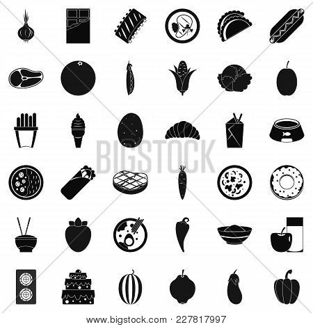 Nutritional Value Icons Set. Simple Set Of 36 Nutritional Value Vector Icons For Web Isolated On Whi