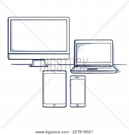 Set Of Different Computer And Mobile Device: Desktop, Tablet, Laptop, Mobile Phone. Isolated Object.