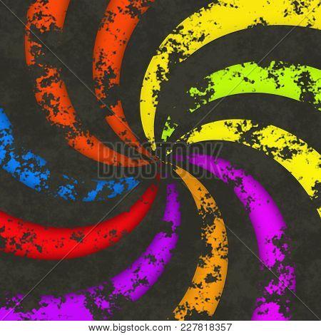 Funky Radial Dark Wheel Circular Swirl Lines Rainbow Colorful Rays Image
