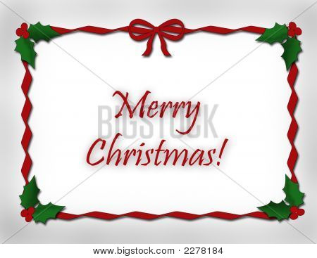 Red Ribbon Border Merry Christmas