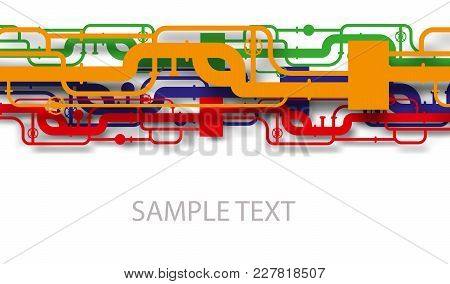 Colorful Gas Pipes. Industrial Background With Pipes. Vector Illustration