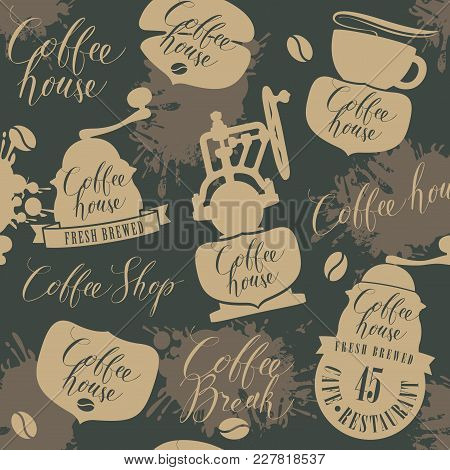 Vector Seamless Pattern On Coffee And Coffeehouse Theme With Old Coffee Grinders, Other Coffee Symbo