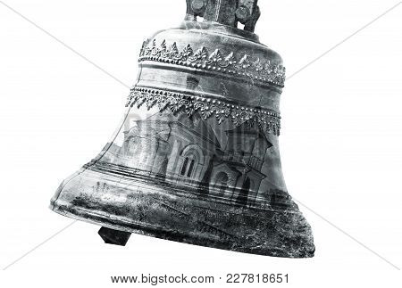 The Double Exposure Effect: Church Bell And A Picture Of A Temple On A White Background.