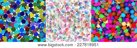 Background Of Polyhedra. Seamless Texture In 3 Colors. Vector Background.