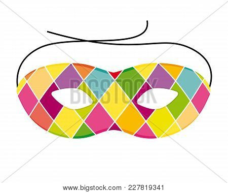 Colorful Carnival Harlequin Mask. Vector Illustration Icon.