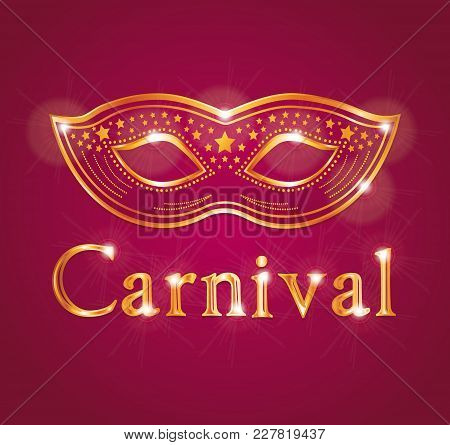 Beautiful Vector Carnival Illustration With Venetian Mask. Red And Gold.