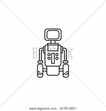Robot Icon In Line Style. Vector Illustration With Automatic Helper Robot On White Background. Robot