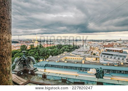 Panoramic View Of St. Petersburg (palace Square, Rooftops) From The Height Of St. Isaac's Cathedral,