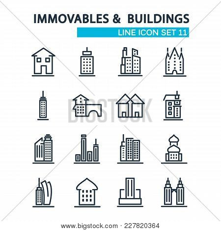 Set Of Buildings Design Style Decorative Icons On The White Background With Sixteen Images Consistin