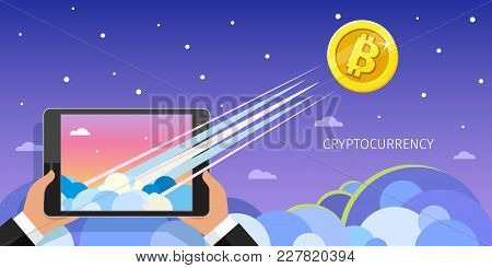 Concept Of Crypto-currency. Bitcoin Financial System Grows. Businessman Holding A Tablet With Bitcoi