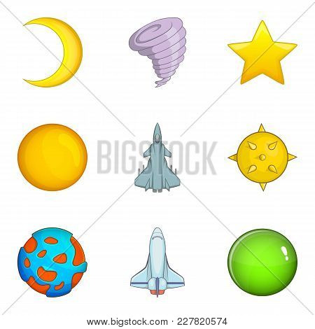 Space Dream Icons Set. Cartoon Set Of 9 Space Dream Vector Icons For Web Isolated On White Backgroun