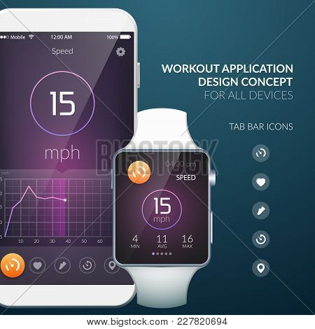 Workout Application Design Concept For All Devices With Tab Bar Icons Flat Vector Illustration