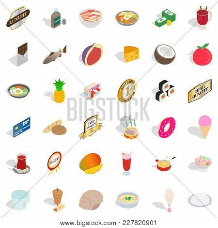 Nourishment Power Icons Set. Isometric Set Of 36 Nourishment Power Vector Icons For Web Isolated On