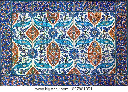 Ottoman Era Style Glazed Ceramic Tiles From Iznik (turkey) Decorated With Floral Ornamentations, Fro