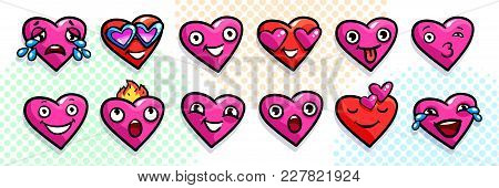 Set Of Heart Icons On White Background. Emoji Vector In Pop Art Style. Love Faces Smile Icon Set. Em