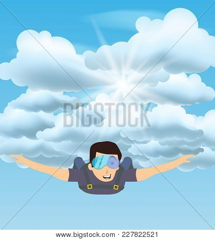 Skydiver Man Flying In The Blue Cloudy Sky. Vector Character Illustration In Flat Style. Sky Diving