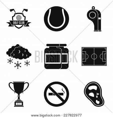 Sport Clubhouse Icons Set. Simple Set Of 9 Sport Clubhouse Vector Icons For Web Isolated On White Ba
