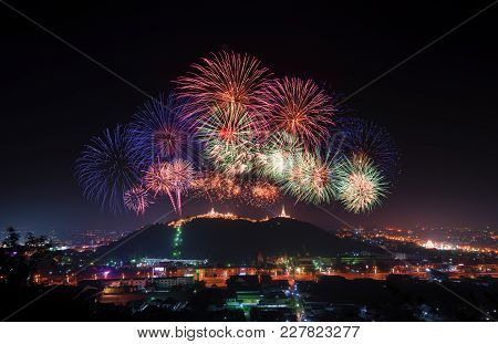 Fireworks Show At  Phranakorn Khiri Palace For Celebration, Phetchaburi, Thailand